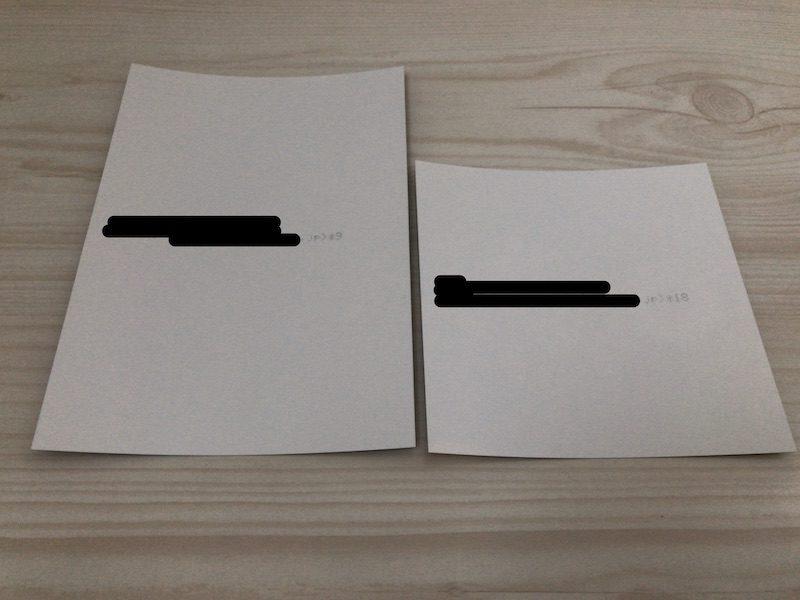 どんどんプリントのLサイズとましかくサイズ写真